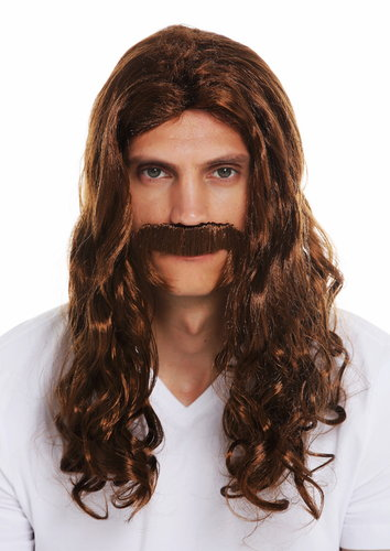 70666-FR6-8 wig and beard carnival men long wavy curly brown middle ages viking 70's hippie