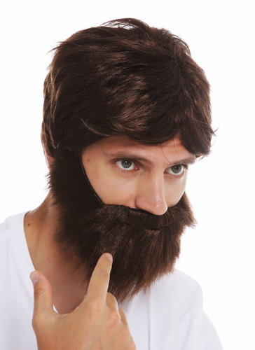 31998-P4 wig and beard set carnival men brown wild messy scruffy