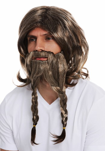70774-FR612-6 wig beard carnival Halloween men viking German barbarian Gaelic brown tangled plait