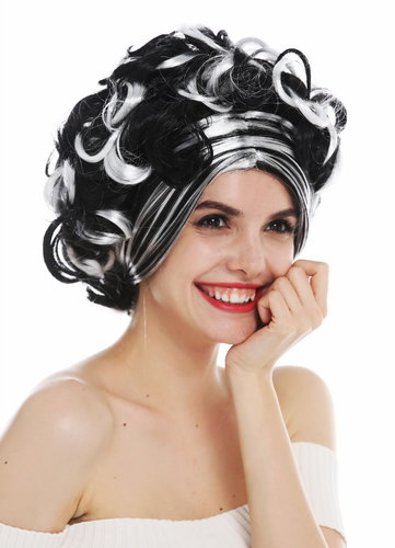 31717-P103-68 wig women's wig Halloween carnival short curls black white highlights