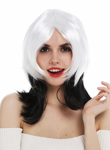 6820706-P103-68 wig women's wig Halloween carnival vamp black white layered Femme Fatale