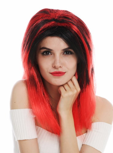63040-P103-13 women's wig Halloween carnival long sleek middle parting black red highlights devil