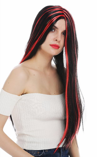 68036-P103-13 women's wig Halloween carnival long sleek middle parting black red highlights devil