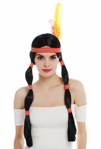 6081-P103 wig women's wig carnival native American woman wild west braids black head band feather