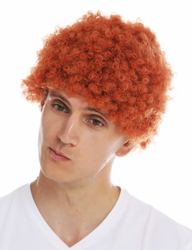 MMAM-9M-K9808 wig woman man carnival short thick afro frizzy curls red